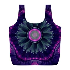 Beautiful Hot Pink And Gray Fractal Anemone Kisses Full Print Recycle Bags (l)  by jayaprime