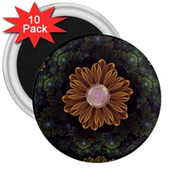 Abloom In Autumn Leaves With Faded Fractal Flowers 3  Magnets (10 Pack)  by jayaprime