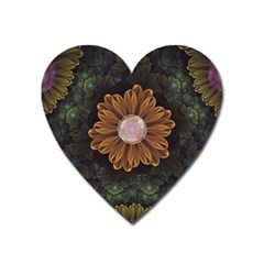 Abloom In Autumn Leaves With Faded Fractal Flowers Heart Magnet by jayaprime