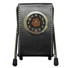 Abloom In Autumn Leaves With Faded Fractal Flowers Pen Holder Desk Clocks by jayaprime