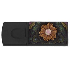 Abloom In Autumn Leaves With Faded Fractal Flowers Rectangular Usb Flash Drive by jayaprime