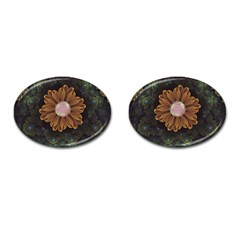 Abloom In Autumn Leaves With Faded Fractal Flowers Cufflinks (oval) by jayaprime
