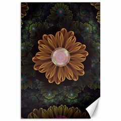 Abloom In Autumn Leaves With Faded Fractal Flowers Canvas 12  X 18   by jayaprime