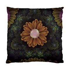 Abloom In Autumn Leaves With Faded Fractal Flowers Standard Cushion Case (one Side) by jayaprime