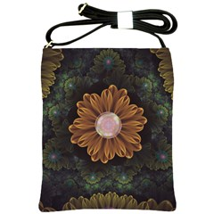 Abloom In Autumn Leaves With Faded Fractal Flowers Shoulder Sling Bags by jayaprime