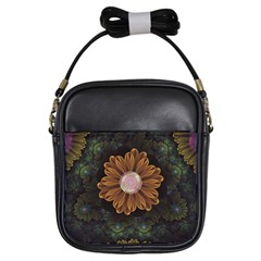 Abloom In Autumn Leaves With Faded Fractal Flowers Girls Sling Bags by jayaprime