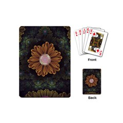 Abloom In Autumn Leaves With Faded Fractal Flowers Playing Cards (mini)  by jayaprime