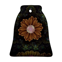 Abloom In Autumn Leaves With Faded Fractal Flowers Ornament (bell) by jayaprime