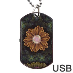 Abloom In Autumn Leaves With Faded Fractal Flowers Dog Tag Usb Flash (two Sides) by jayaprime