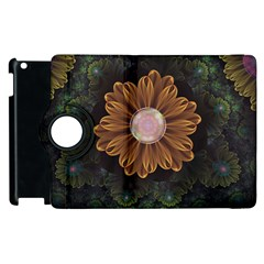 Abloom In Autumn Leaves With Faded Fractal Flowers Apple Ipad 3/4 Flip 360 Case by jayaprime