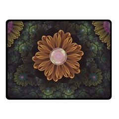 Abloom In Autumn Leaves With Faded Fractal Flowers Double Sided Fleece Blanket (small)  by jayaprime