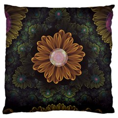 Abloom In Autumn Leaves With Faded Fractal Flowers Standard Flano Cushion Case (one Side) by jayaprime