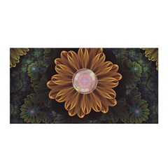 Abloom In Autumn Leaves With Faded Fractal Flowers Satin Wrap by jayaprime