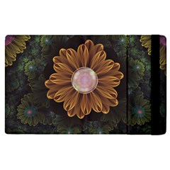 Abloom In Autumn Leaves With Faded Fractal Flowers Apple Ipad Pro 9 7   Flip Case by jayaprime