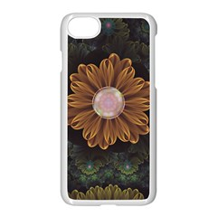Abloom In Autumn Leaves With Faded Fractal Flowers Apple Iphone 7 Seamless Case (white) by jayaprime