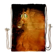 The Funny, Speed Giraffe Drawstring Bag (large) by FantasyWorld7
