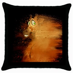 The Funny, Speed Giraffe Throw Pillow Case (black) by FantasyWorld7