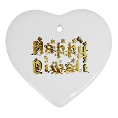 Happy Diwali Gold Golden Stars Star Festival Of Lights Deepavali Typography Heart Ornament (two Sides) by yoursparklingshop