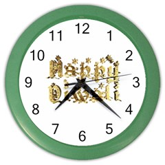 Happy Diwali Gold Golden Stars Star Festival Of Lights Deepavali Typography Color Wall Clocks by yoursparklingshop