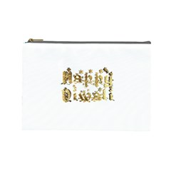 Happy Diwali Gold Golden Stars Star Festival Of Lights Deepavali Typography Cosmetic Bag (large)  by yoursparklingshop
