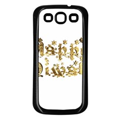 Happy Diwali Gold Golden Stars Star Festival Of Lights Deepavali Typography Samsung Galaxy S3 Back Case (black) by yoursparklingshop