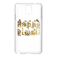Happy Diwali Gold Golden Stars Star Festival Of Lights Deepavali Typography Samsung Galaxy Note 3 N9005 Case (white) by yoursparklingshop
