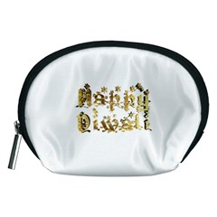 Happy Diwali Gold Golden Stars Star Festival Of Lights Deepavali Typography Accessory Pouches (medium)