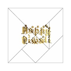 Happy Diwali Gold Golden Stars Star Festival Of Lights Deepavali Typography Acrylic Tangram Puzzle (6  X 6 ) by yoursparklingshop