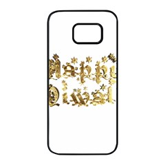 Happy Diwali Gold Golden Stars Star Festival Of Lights Deepavali Typography Samsung Galaxy S7 Edge Black Seamless Case by yoursparklingshop
