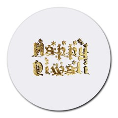 Happy Diwali Gold Golden Stars Star Festival Of Lights Deepavali Typography Round Mousepads by yoursparklingshop