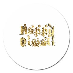 Happy Diwali Gold Golden Stars Star Festival Of Lights Deepavali Typography Magnet 5  (round) by yoursparklingshop