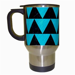 Triangle2 Black Marble & Turquoise Colored Pencil Travel Mugs (white) by trendistuff