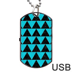 Triangle2 Black Marble & Turquoise Colored Pencil Dog Tag Usb Flash (one Side)