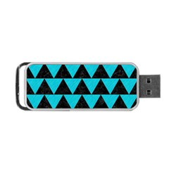 Triangle2 Black Marble & Turquoise Colored Pencil Portable Usb Flash (two Sides)