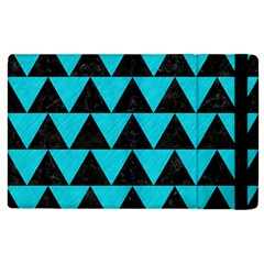 Triangle2 Black Marble & Turquoise Colored Pencil Apple Ipad 3/4 Flip Case by trendistuff