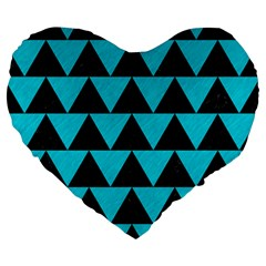 Triangle2 Black Marble & Turquoise Colored Pencil Large 19  Premium Heart Shape Cushions by trendistuff