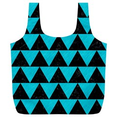 Triangle2 Black Marble & Turquoise Colored Pencil Full Print Recycle Bags (l)  by trendistuff