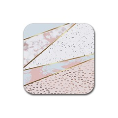Collage,white Marble,gold,silver,black,white,hand Drawn, Modern,trendy,contemporary,pattern Rubber Coaster (square)  by 8fugoso