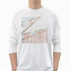 Collage,white Marble,gold,silver,black,white,hand Drawn, Modern,trendy,contemporary,pattern White Long Sleeve T Shirts by 8fugoso