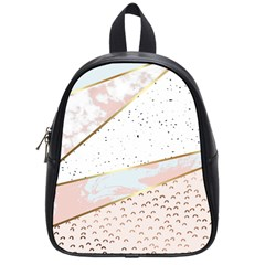 Collage,white Marble,gold,silver,black,white,hand Drawn, Modern,trendy,contemporary,pattern School Bag (small) by 8fugoso