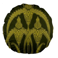 Art Nouveau Green Large 18  Premium Flano Round Cushions by 8fugoso