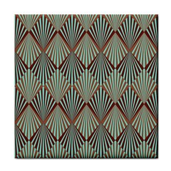 Art Deco Teal Brown Tile Coasters by 8fugoso