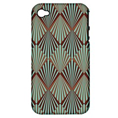 Art Deco Teal Brown Apple Iphone 4/4s Hardshell Case (pc+silicone) by 8fugoso