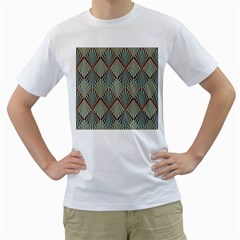 Art Deco Teal Brown Men s T Shirt (white)  by 8fugoso