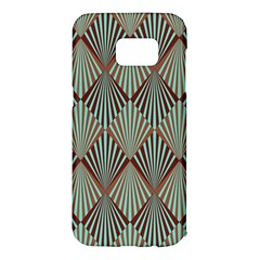 Art Deco Teal Brown Samsung Galaxy S7 Edge Hardshell Case by 8fugoso