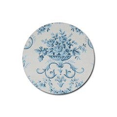 Blue Vintage Floral  Rubber Coaster (round)  by 8fugoso