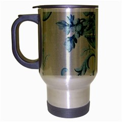 Blue Vintage Floral  Travel Mug (silver Gray) by 8fugoso
