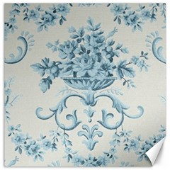 Blue Vintage Floral  Canvas 12  X 12   by 8fugoso