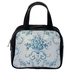 Blue Vintage Floral  Classic Handbags (one Side) by 8fugoso