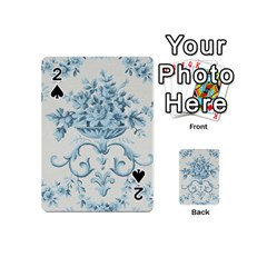 Blue Vintage Floral  Playing Cards 54 (mini)  by 8fugoso